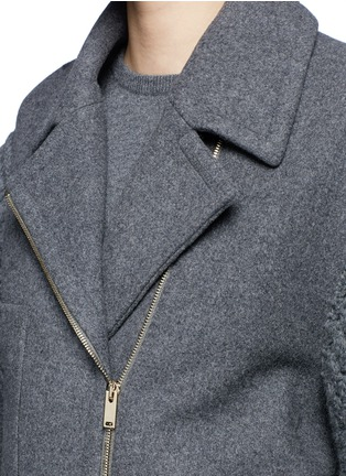 Detail View - Click To Enlarge - Stella McCartney - Cable knit sleeve felted wool blend coat