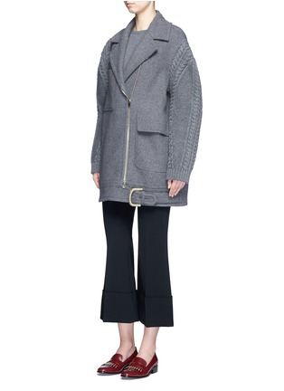Figure View - Click To Enlarge - Stella McCartney - Cable knit sleeve felted wool blend coat