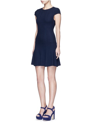 Figure View - Click To Enlarge - alice + olivia - 'Dacey' drop waist cable knit dress