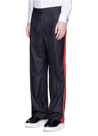 Front View - Click To Enlarge - Alexander McQueen - Side stripe wool flannel wide leg pants