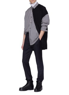 Juun.J Layered knit panel gingham check shirt