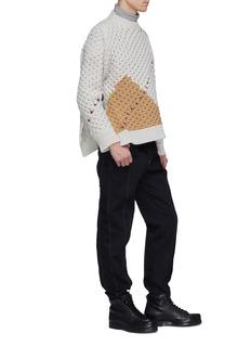 Raf Simons Colourblock panel virgin wool cable knit sweater
