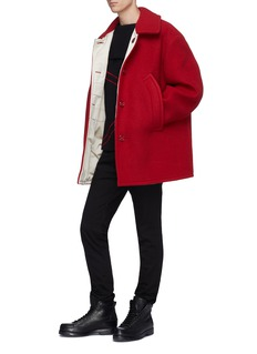 Raf Simons Foldover collar contrast stitching virgin wool sweater