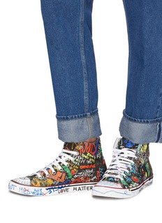 Vetements Graffiti print canvas high top sneakers