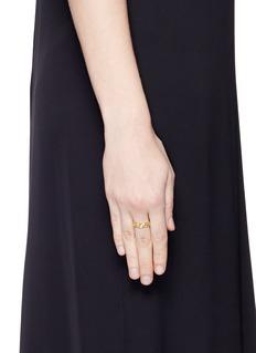 Jo Hayes Ward 'Triple Hex' diamond 18k yellow gold ring