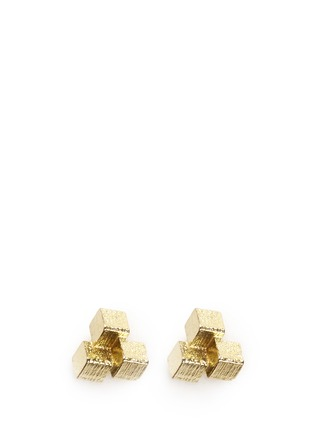 Main View - Click To Enlarge - Jo Hayes Ward - '3 Cube Grid' 18k yellow gold stud earrings