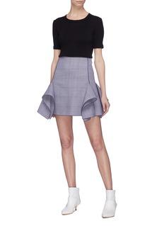 Dion Lee Drape panel check plaid skirt