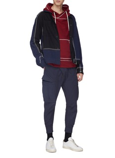Indice Studio Contrast topstitching slogan logo print knit hoodie