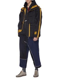 Indice Studio Detachable sleeve hooded colourblock field jacket