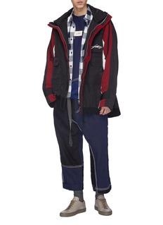 Indice Studio Colourblock slogan print hooded windbreaker jacket