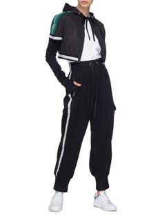 No Ka'Oi 'Lauoho' layered sleeve stripe cropped track jacket
