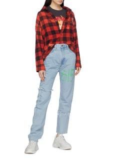 Vetements Slogan print unisex fringed jeans