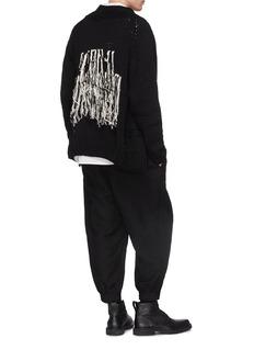 Yohji Yamamoto Fringe back zip cotton cardigan