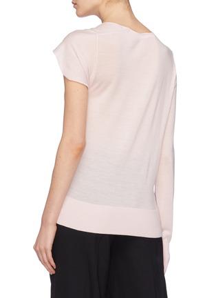 Back View - Click To Enlarge - Dion Lee - Asymmetric twist sleeve Merino wool sweater