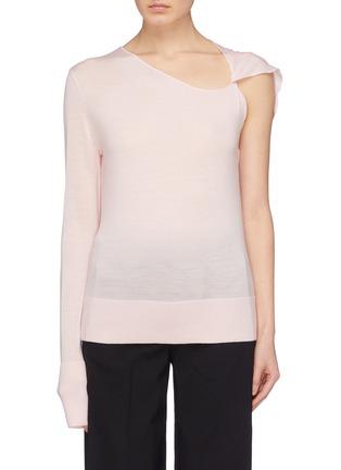 Main View - Click To Enlarge - Dion Lee - Asymmetric twist sleeve Merino wool sweater
