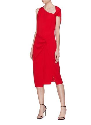 Figure View - Click To Enlarge - Dion Lee - Twist cutout yoke drape crepe dress