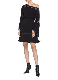 Dion Lee Mesh panel bond crepe peplum skirt