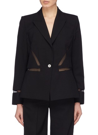 Main View - Click To Enlarge - Dion Lee - Mesh panel wool blazer