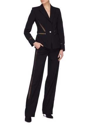 Figure View - Click To Enlarge - Dion Lee - Mesh stripe outseam wool suiting pants