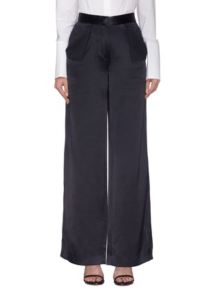 Main View - Click To Enlarge - Dion Lee - Foldover pocket Mulberry silk satin wide leg pants