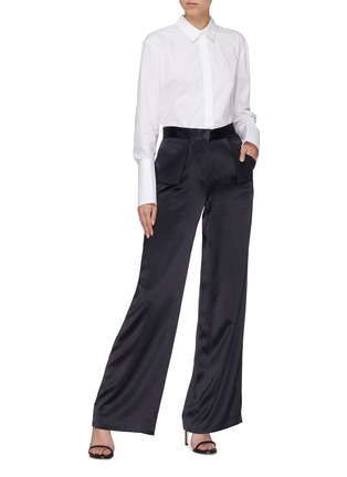 Figure View - Click To Enlarge - Dion Lee - Foldover pocket Mulberry silk satin wide leg pants