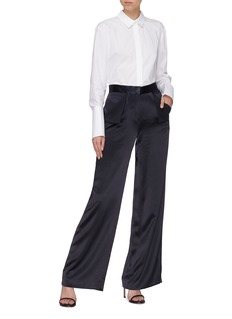 Dion Lee Foldover pocket Mulberry silk satin wide leg pants