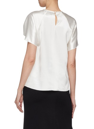 Back View - Click To Enlarge - Dion Lee - Twist cutout cap sleeve Mulberry silk satin top