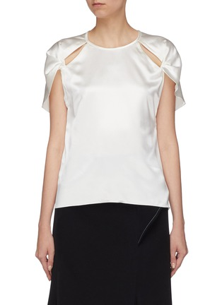 Main View - Click To Enlarge - Dion Lee - Twist cutout cap sleeve Mulberry silk satin top