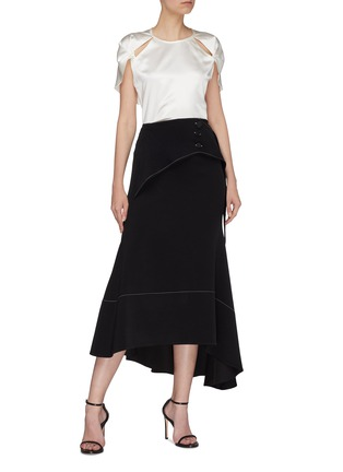 Figure View - Click To Enlarge - Dion Lee - Twist cutout cap sleeve Mulberry silk satin top