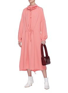 Tibi Drawstring ruched funnel neck silk dress