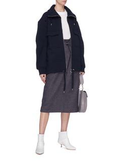 Tibi Suspender drawcord wool-cotton hopsack paperbag skirt