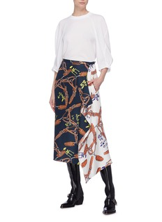 Tibi Construction print mock wrap drape silk twill skirt