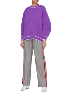 Tibi Stripe border graphic embossed knit sweatshirt