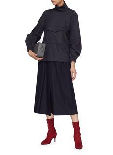 Tibi Front pocket pinstripe wool-cotton funnel neck top