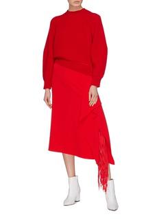 Tibi Shoelace fringe drape crepe midi skirt