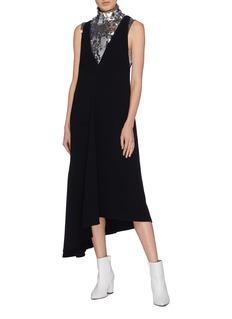 Tibi Open back asymmetric drape crepe dress