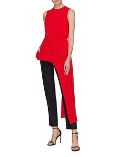 Tibi Asymmetric sash drape crepe sleeveless top
