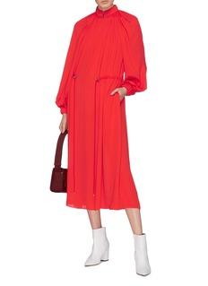 Tibi Drawstring waist ruched georgette midi dress