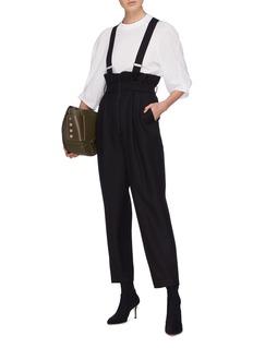 Tibi Wool twill paperbag tuxedo jumpsuit