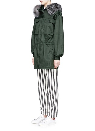 Front View - Click To Enlarge - AREA - Fur trim dot embossed parka