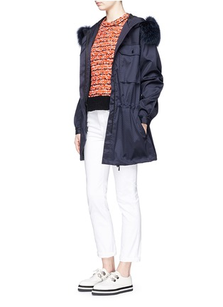 Figure View - Click To Enlarge - AREA - Fur trim dot embossed parka