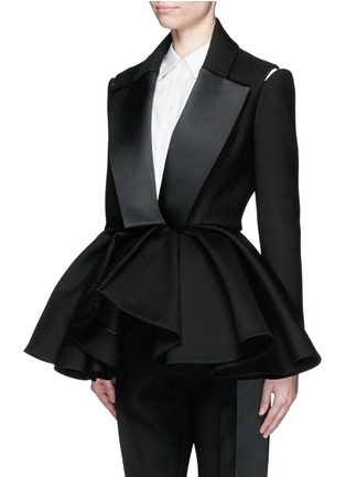 Front View - Click To Enlarge - DICE KAYEK - Made-to-Order<br/><br/>Open shoulder ruffle peplum tuxedo jacket
