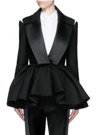 Main View - Click To Enlarge - DICE KAYEK - Made-to-Order<br/><br/>Open shoulder ruffle peplum tuxedo jacket