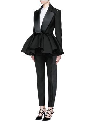 Figure View - Click To Enlarge - DICE KAYEK - Made-to-Order<br/><br/>Open shoulder ruffle peplum tuxedo jacket