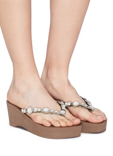 Uzurii 'Pearl Marilyn High Heel' crystal wedge thong sandals