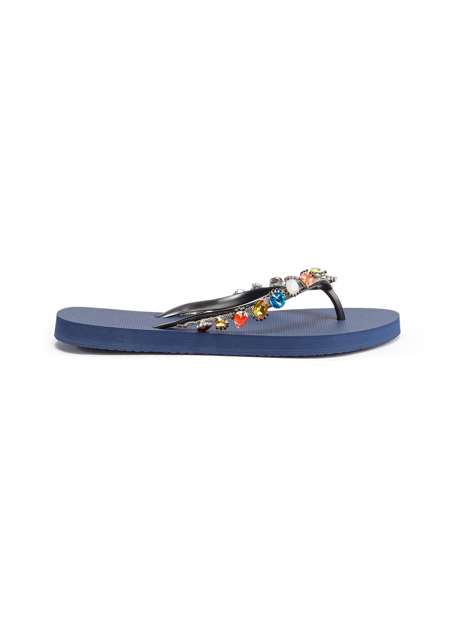 Daisy crystal thong sandals by Uzurii