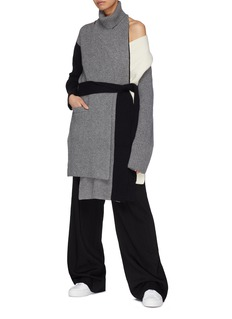 The Keiji Detachable turtleneck panel belted colourblock long cardigan