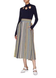 Rosie Assoulin Stripe wool houndstooth skirt
