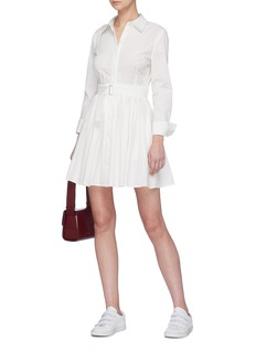 Nicholas Belted pleated shirt dress