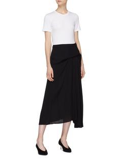 Theory Pleated drape panel silk midi skirt